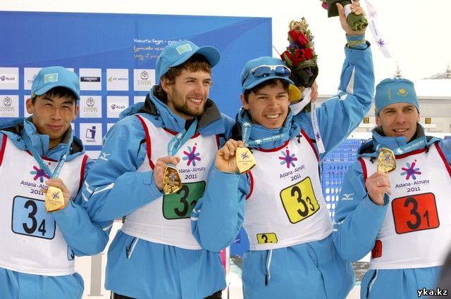 Казахстанские биатлонисты выиграли эстафетную гонку / Азиада 2011, фото